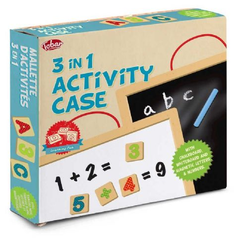 Wooden 3 In 1 Activity Case Educational Toy Age 3+ Tobar